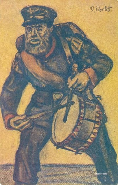 4076731440 14af9ae503 Commercial postcard produced by C.C. Meinhold Sohn Dresden depicting a rather sinister looking Landsturm drummer O
