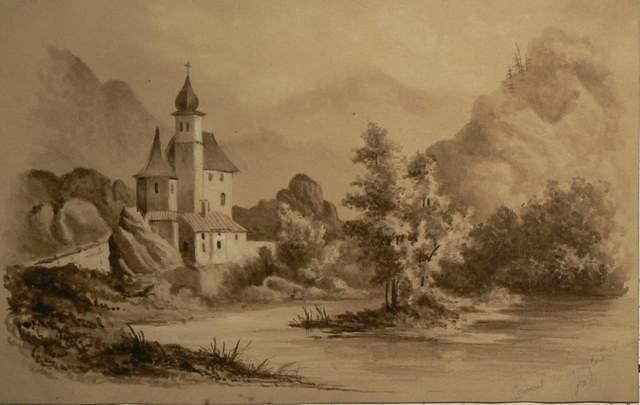 3977932640 57a1b99842 1800s monochrome watercolour of convent in Switzerland initials J.D.A O