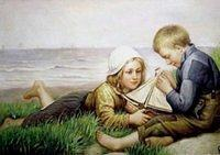 3303776976 7bf72ba370 Victorian painting of a boy and girl with a model sailboat O