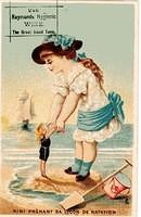 3512869225 58bf6c4936 Delightful French trade card - young girl giving her doll Nina a swimming lesson - Raymond s Apothacary Amesbury Mass USA O