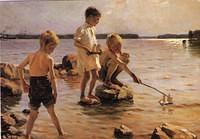 3997940134 6e05d23c52 Boys Playing on the Shore - Artist Albert Edelfelt 1884 Finland O