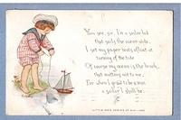 Little Men Series of Six - postcard with a poem O