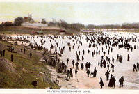 SKATING AT DUDDINGSTON LOCH VINTAGE POSTCARD x